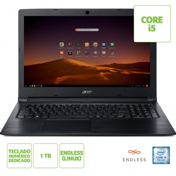 NOTEBOOK ACER A315-53-57G3 INTEL CORE I5 7200U 8GB(2X4GB) 1TB 15,6 ENDLESS OS (LINUX) PRETO