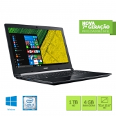 Notebook Acer A515-51-55Qd Intel Core I5 7200U 4Gb 1Tb 15,6 Windows 10 Home Preto
