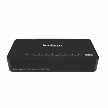 SWITCH INTELBRAS DESKTOP 8P FAST ETHERNET COM VLAN FIXA POE SF800V